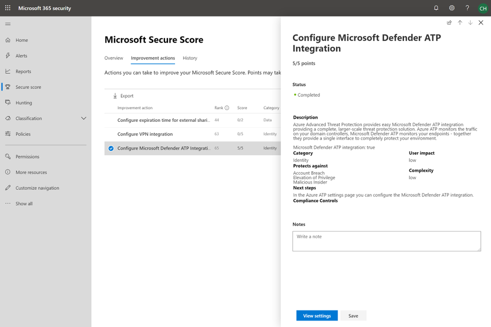 2019 - Blog 03 - Secure Score - Configure Microsoft Defender ATP Integration.png