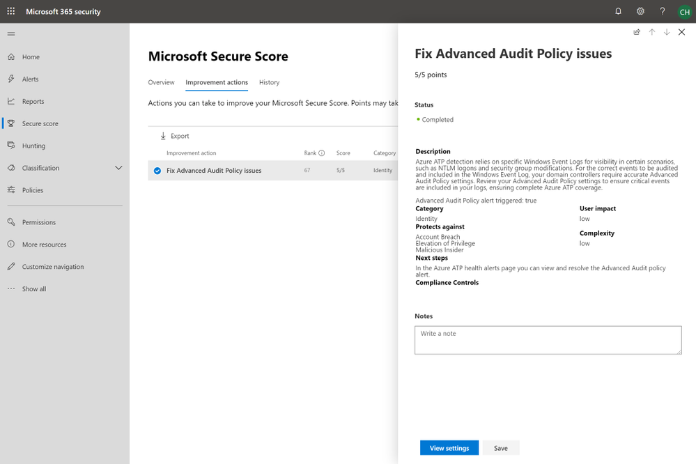 2019 - Blog 03 - Secure Score - Fix Advanced Audit Policy issues.png