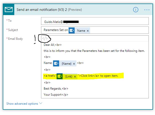 Create clickable link to item in description field
