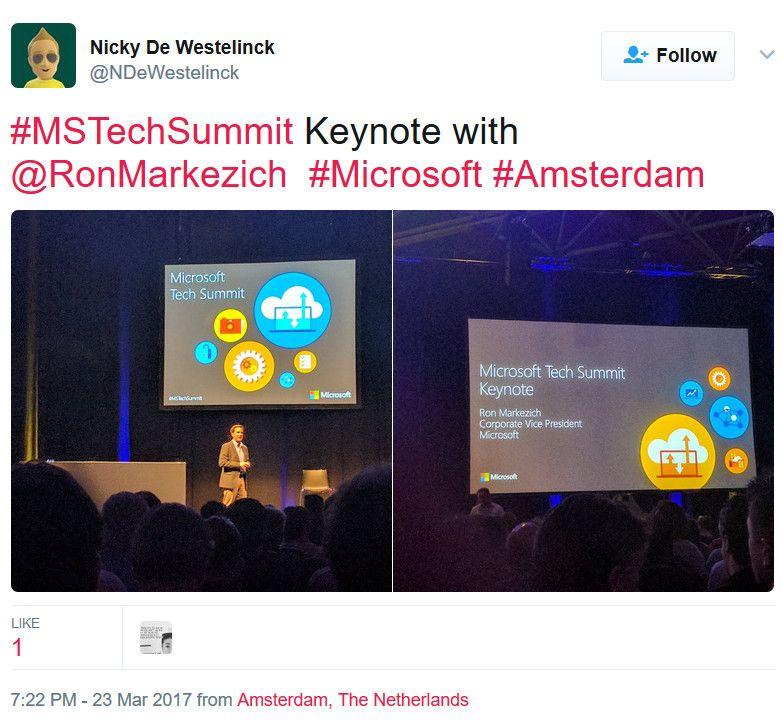 CVP Ron Markezich delivering the Amsterdam Tech Summit keynote.