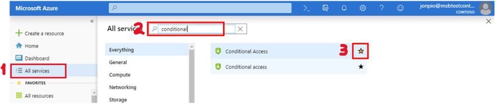 Figure 4 – To add Conditional Access to Favorites, select All Services (1), search for Conditional (2), and click the star (3).