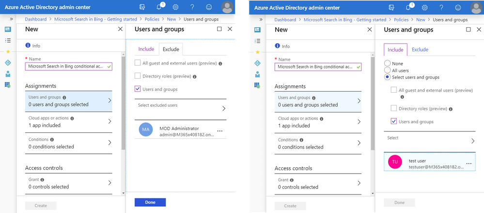"Figure 5 – On the Include tab, add Test user. On the Exclude tab, add your admin user account.  (This would be a critical step if you applied Conditional Access to ""All users."") Then name your new policy."