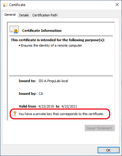 A certificate that is paired with its private key