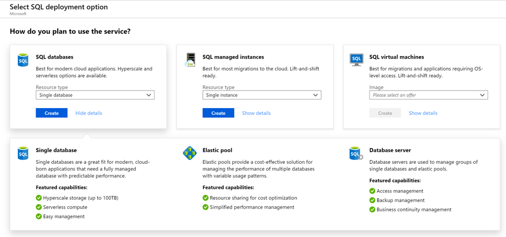 New guided experience for creating SQL Azure resources in the Azure Portal