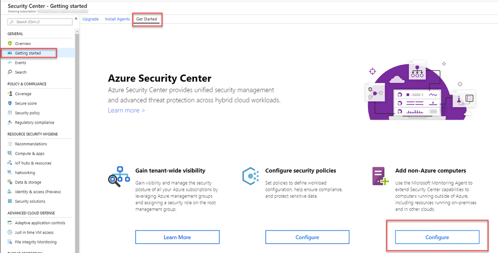 Azure Security Center Monitoring Agent Deployment Options