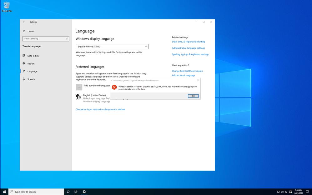 Cannot change language - Microsoft Tech Community - 822184