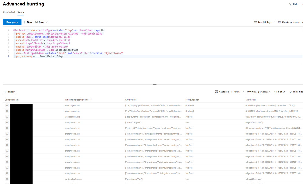 Hunting for reconnaissance activities using LDAP search