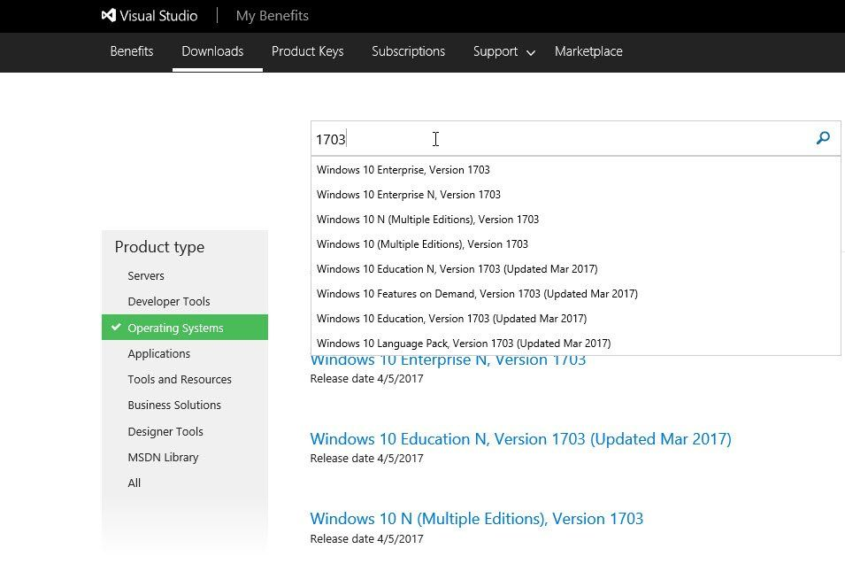 Windows 10 1703 ISOs are now available (4/5/2017) on VisualStudio