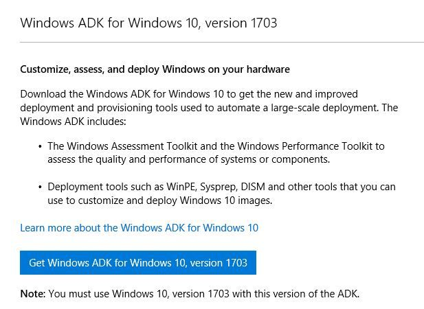 Windows ADK for Windows 10, version 1703 is now available
