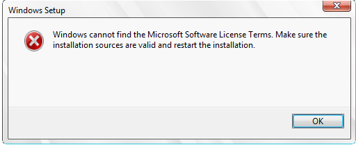 Windows Cannot find Microsoft software license terms