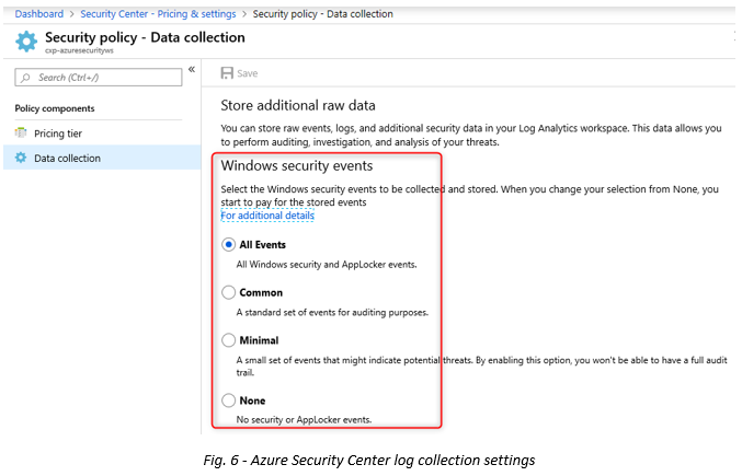 Fig 6 - Azure Security Center log collection settings.png