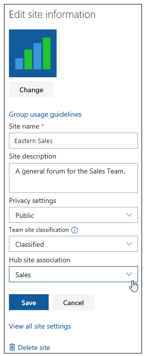 """The site owner can open the """"Eastern Sales"""" site information pane and associate the site to the broader """"Sales"""" hub site."""