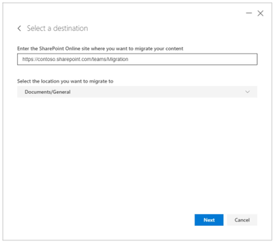 Example when selecting and setting a Microsoft Team channel folder as a files destination location.