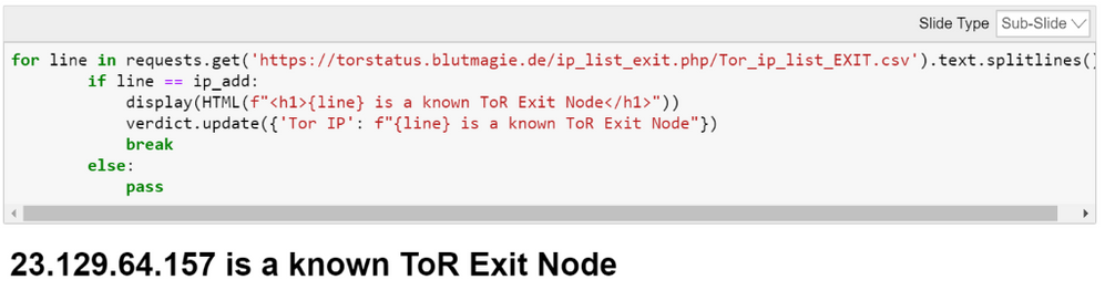 Checking if an IP address appears in a list of known ToR exit nodes