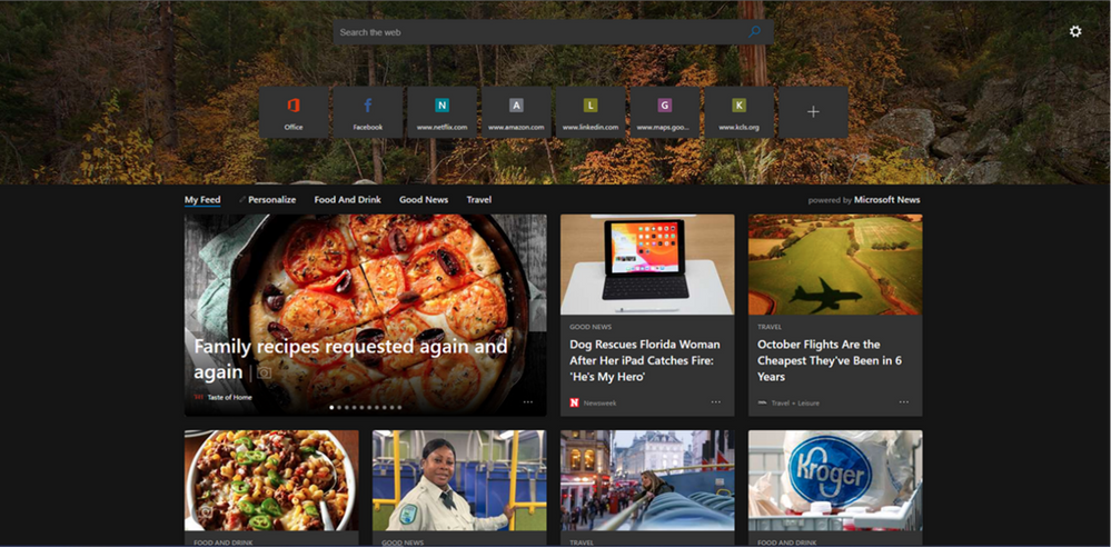 Dark theme is now supported across all configurations of the New Tab Page