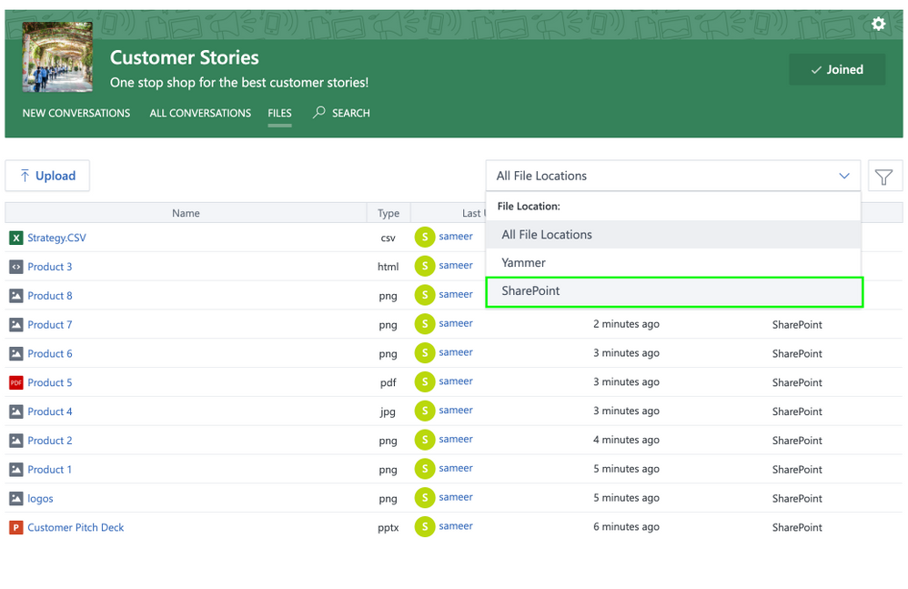 Yammer Files in SharePoint