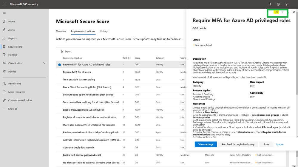 2019 - Microsoft 365 Security Center - Collaboration - Blog - Vibranium - Image 02 - Secure Score - Share Button.png