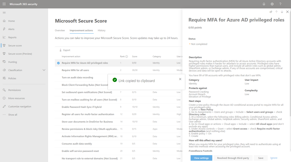2019 - Microsoft 365 Security Center - Collaboration - Blog - Vibranium - Image 08 - Copy Link.PNG