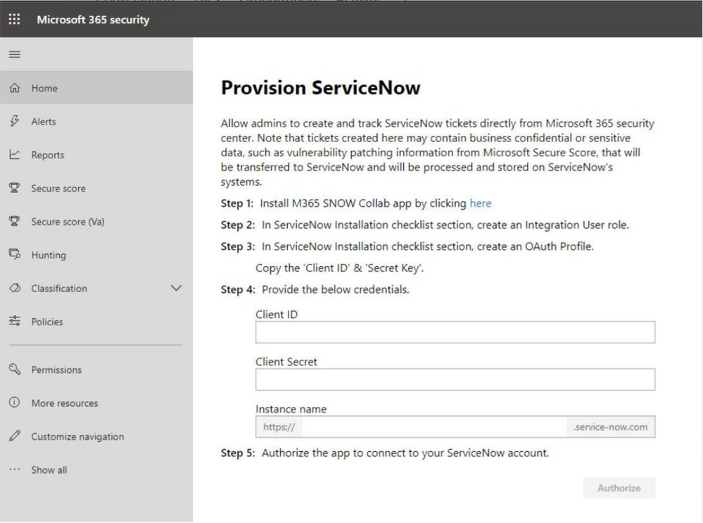 2019 - Microsoft 365 Security Center - Collaboration - Blog - Vibranium - Image 18.2 - Provision SvcNow.png