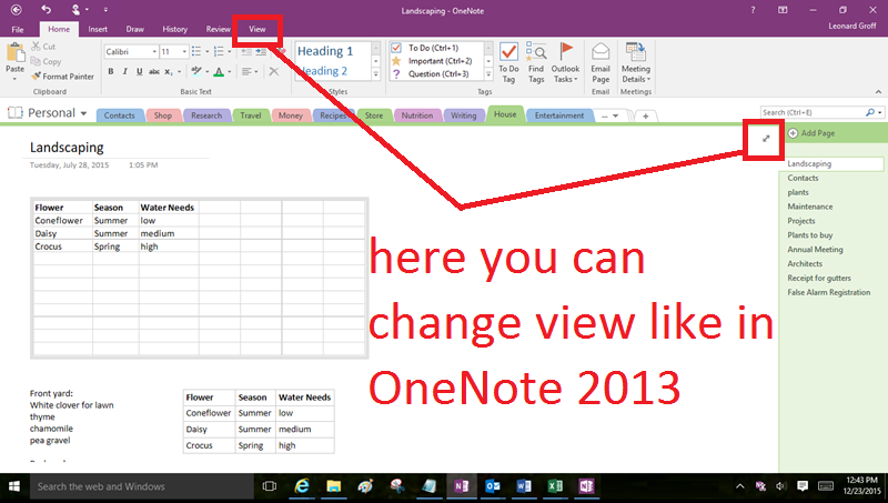 Vertical section list in OneNote (especially Windows 10