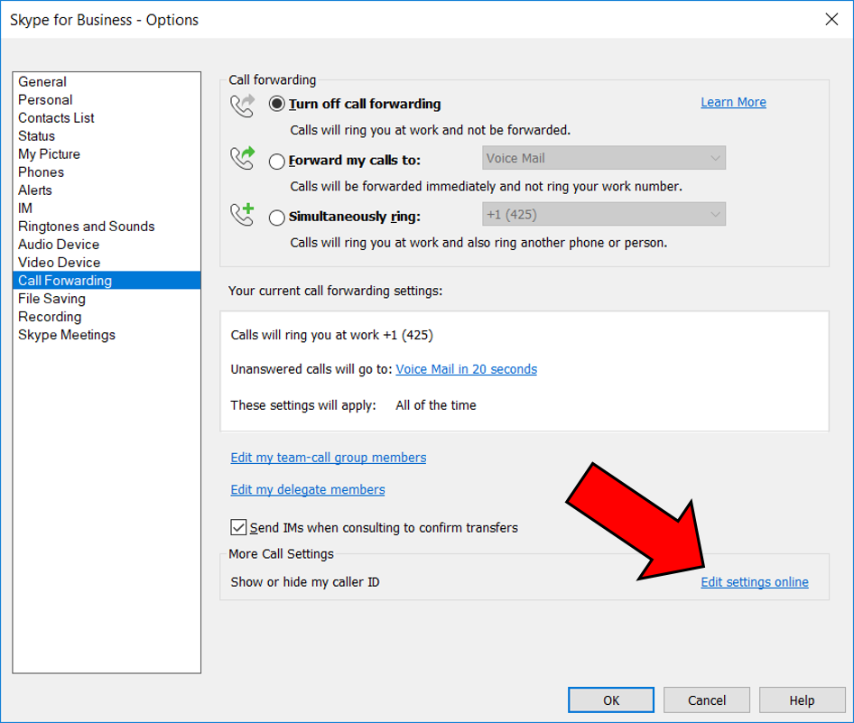 Skype for Business settings portal: Reset your pin and more