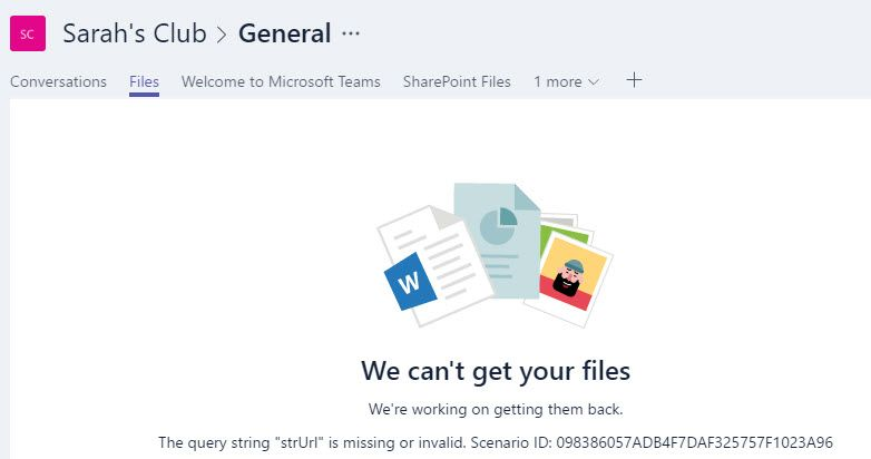 Unable to access files in a new Team - Microsoft Tech