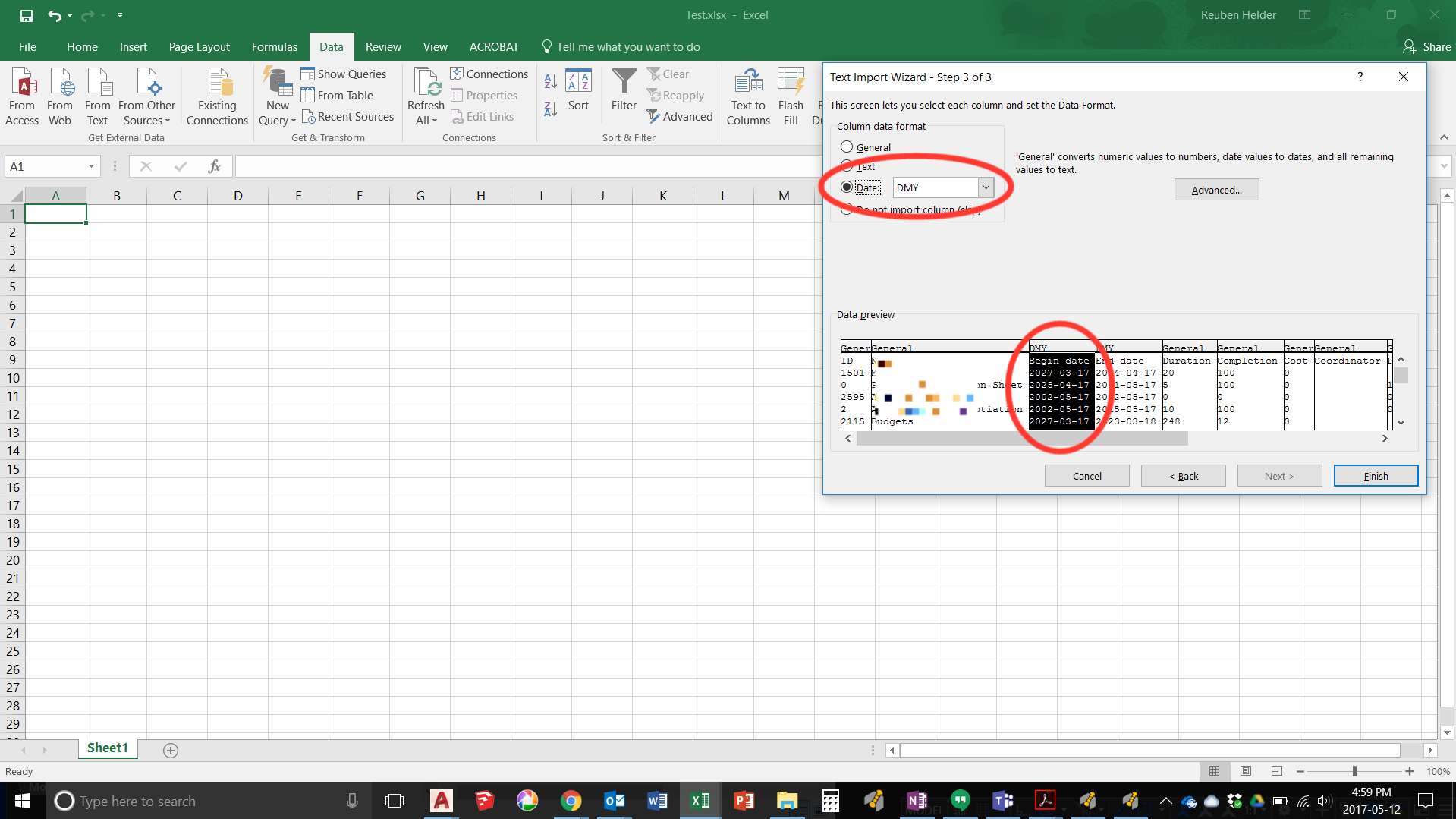 How to convert date format from imported data? - Microsoft