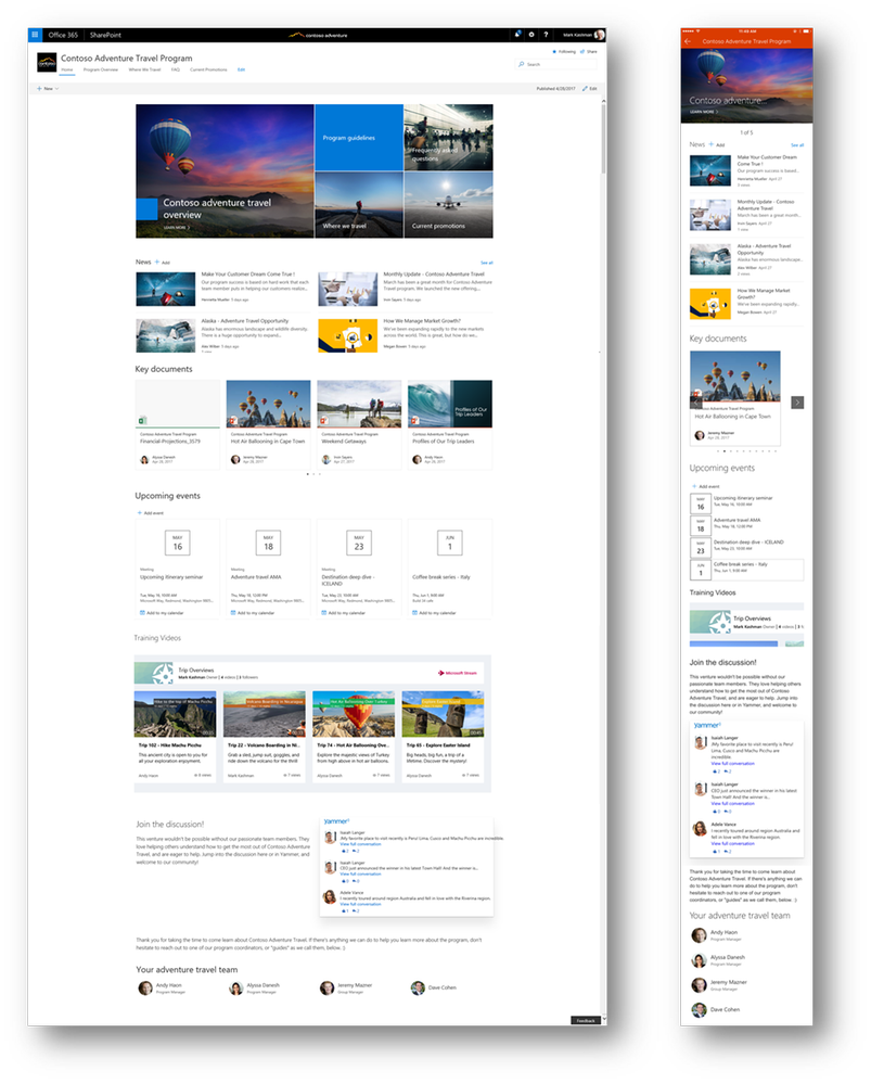 A communication site shown in a desktop Web browser (left) and in the SharePoint mobile app (right). Features include a consistent logo, top navigation, page layouts, and new web parts: Hero, News, Events, Microsoft Stream, Yammer, and People (with more to come).