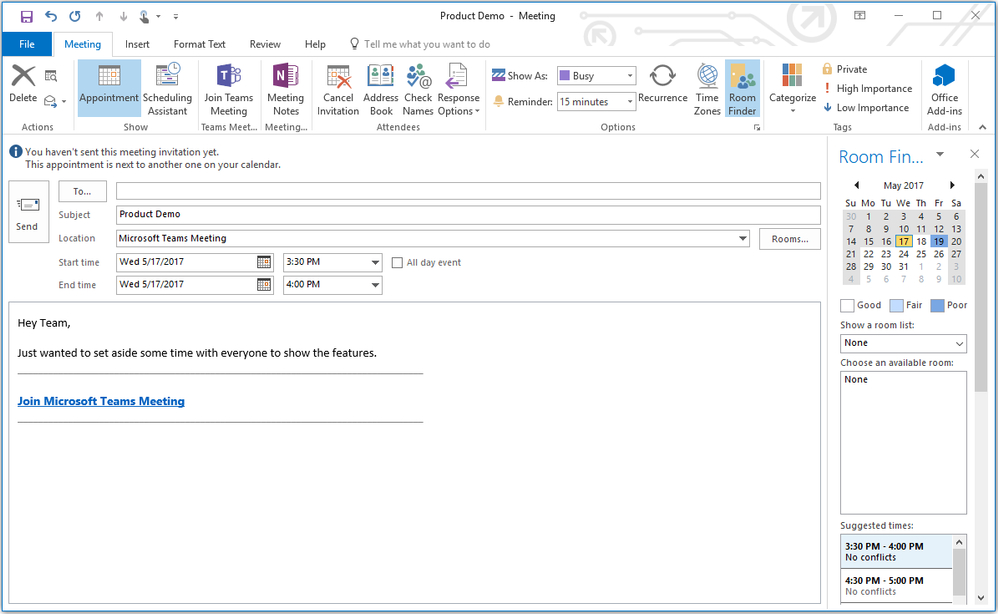 now available outlook add in to schedule meetings in microsoft