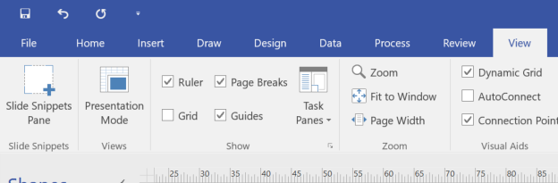 7 Visio View Menu with Slide Snippets Pane UI.png