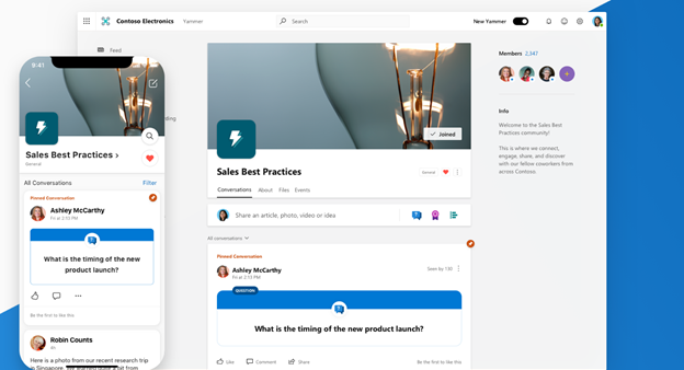 Fluent Design is apparent in the clean, new look for Yammer