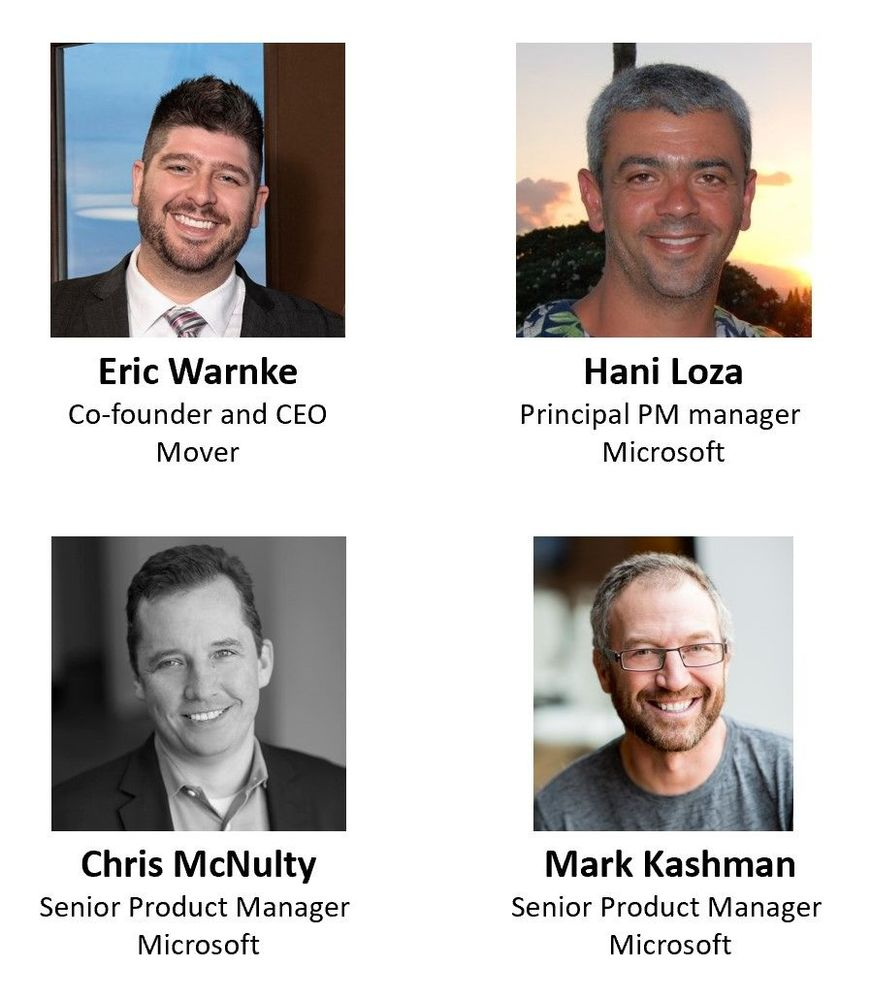 Left to right, top to bottom: Eric Warnke – CEO and co-founder of Mover (SharePoint/Microsoft) [guest], Hani Loza – principal program manager (SharePoint/Microsoft), Chris McNulty – senior product manager (SharePoint/Microsoft) [co-host], and Mark Kashman – senior product manager (SharePoint/Microsoft) [co-host].