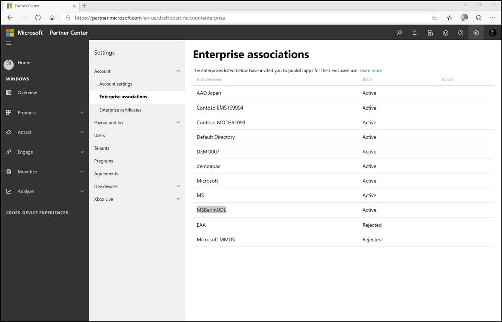 Figure 5. ISV developer dashboard settings for Enterprise associations