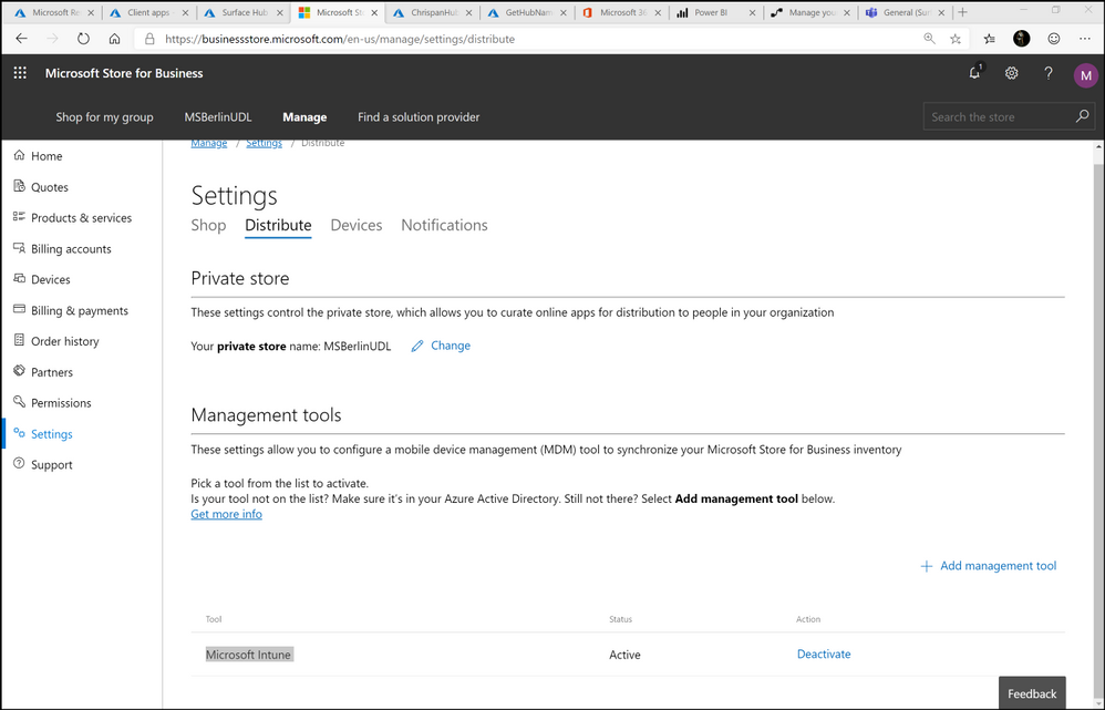 Figure 1. Microsoft Store for Business settings - Intune MDM