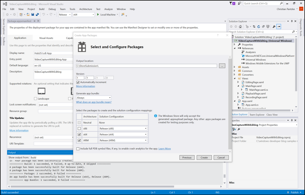 Figure 6. Creating an app package in Visual Studio 2015 for Store for Business submission