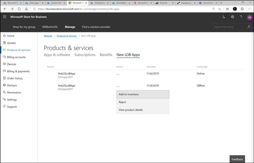 Figure 11. Products & services page for LoB apps showing both licensed app versions