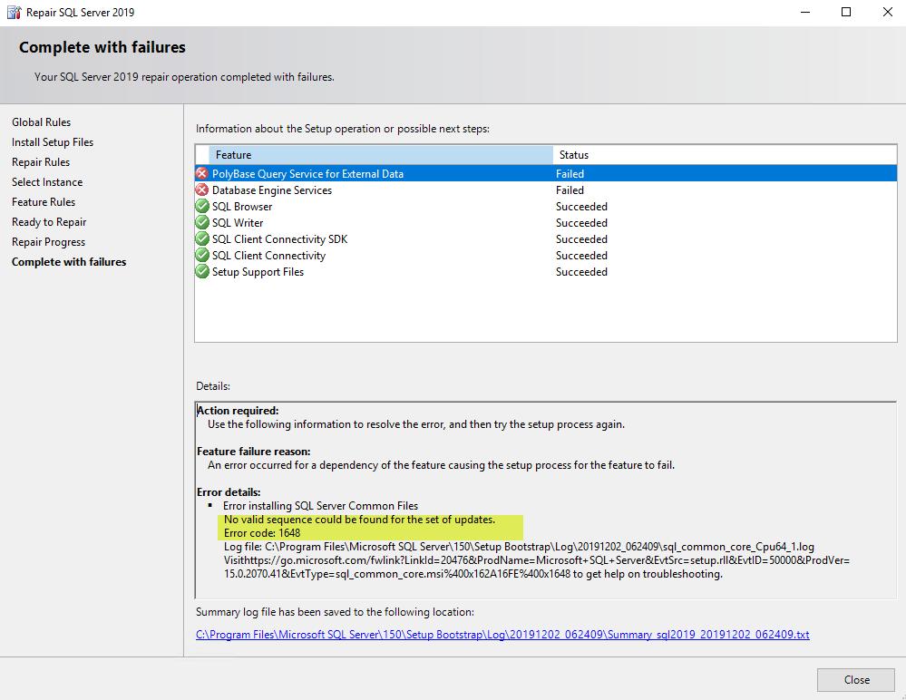 SQL Patch / Repair / Uninstall