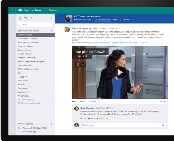 Live Events in Yammer make it easy for the organization to connect in real time or on-demand.