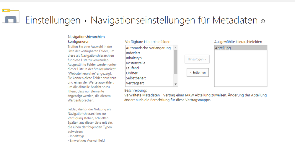 doclib metadata navigation settings