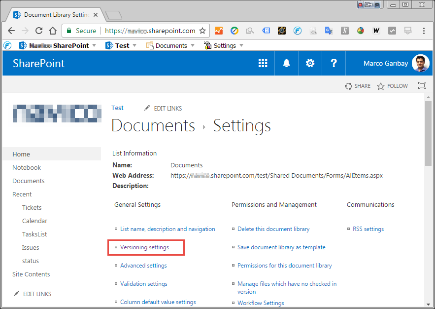 SharePoint library with no check in enabled - Library Settings Menu.png