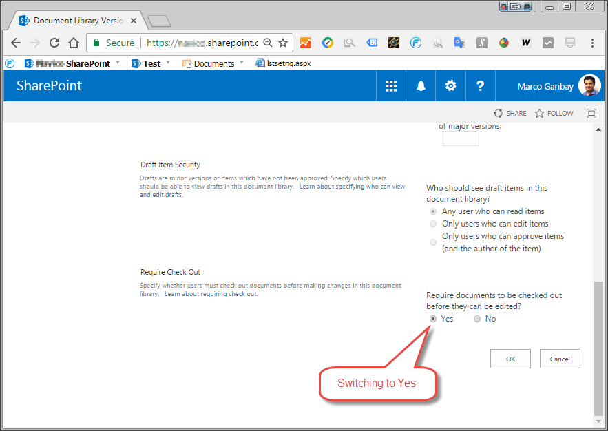SharePoint library with check in enabled - Versioning Settings.png