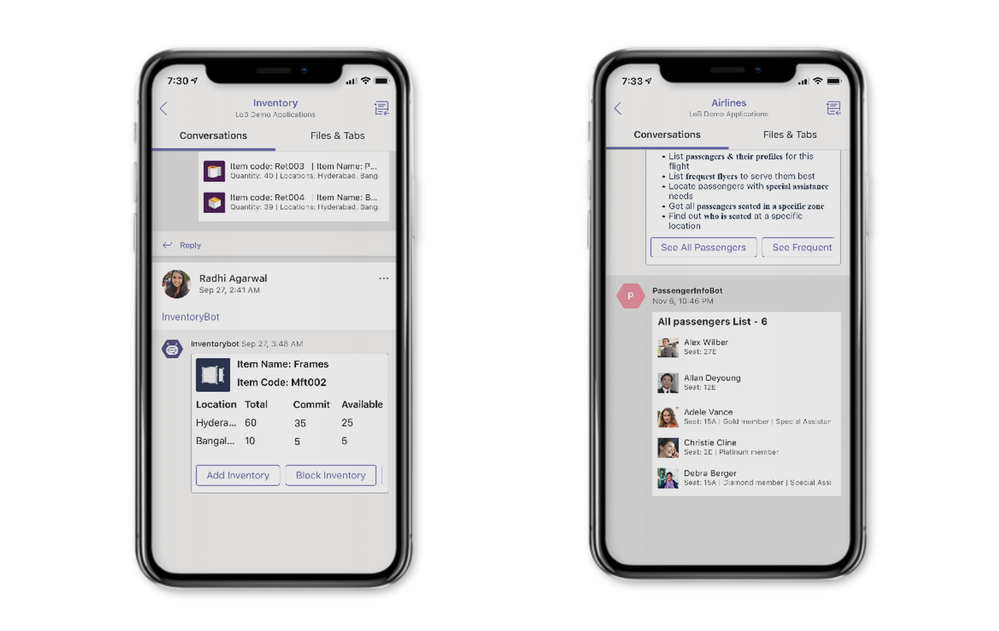 Add your line of business apps (left) and automate business processes with Power Automate (right) in Teams.