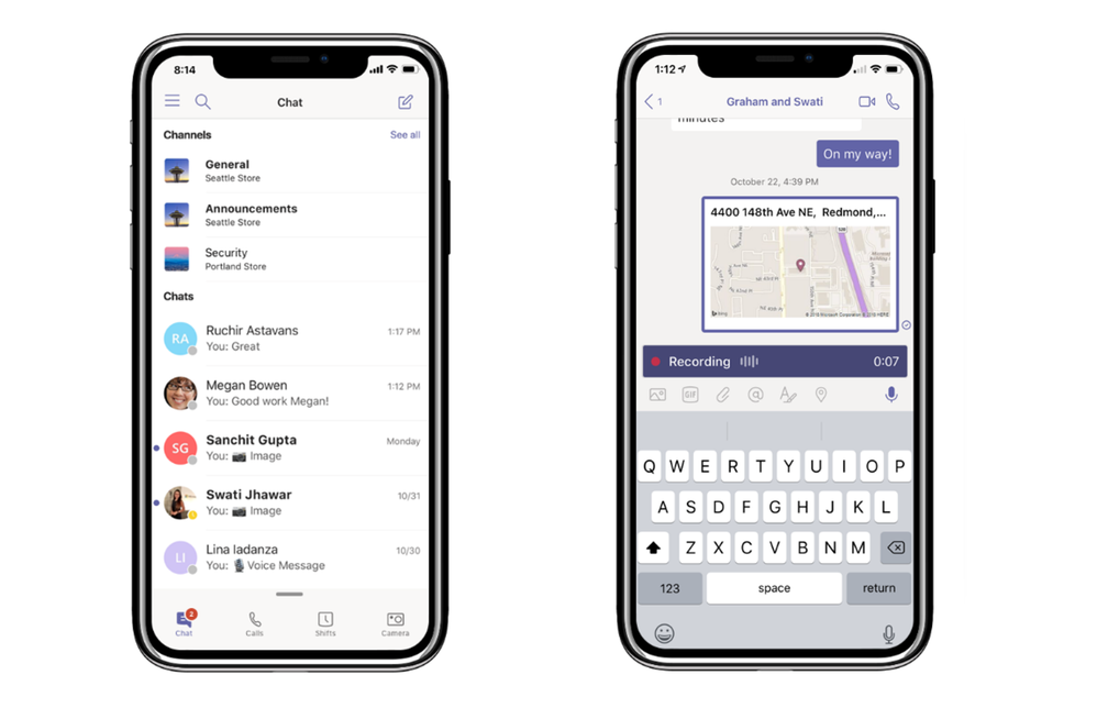 View all conversations in one place with a unified chat and channel view (left). Share your location and record and share audio messages (right).