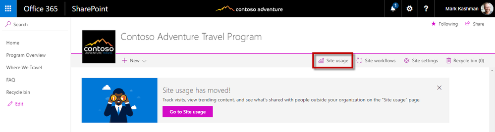 Click Site usage button from the Site content page