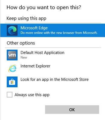 Windows 10 Default App Chooser
