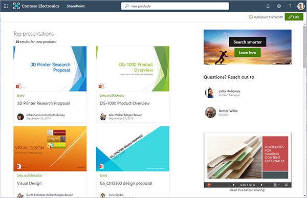 Build and design your own custom search results pages for SharePoint sites.