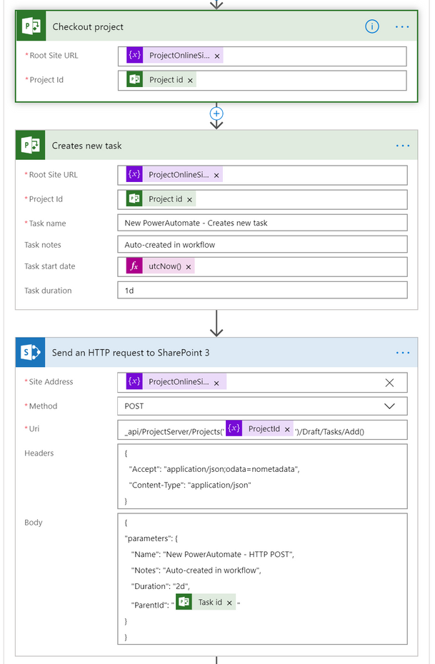 Screenshot of the first few Power Automate steps for this solution