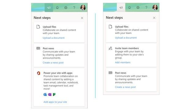 "Left-to-right: ""Next steps"" showing from a classic team site and ""Next steps"" showing from a group-connected team site. Simply click on the megaphone icon to bring up ""Next steps"" tips from the Office 365 suite header at the top of the SharePoint site."