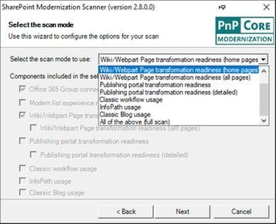 "Select the SharePoint Modernization Scanner option you want in the dropdown and then the checkboxes will show which components will be included in the scan. The ""Office 365 Group connection readiness"" component is the main component that will be included all scan modes."