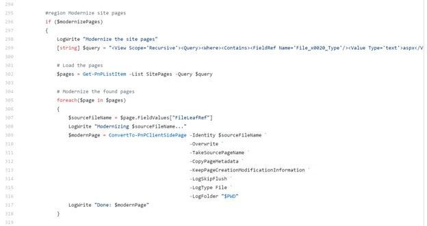Section of the sample PowerShell script to modernize SharePoint pages.